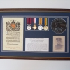 WW1 MEDALS WITH MEMORIAL PLAQUE AND SCROLL