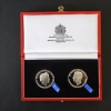 THE GEORGE CROSS & GEORGE MEDAL 75TH., ANNIVERSARY SILVER MEDALLIONS