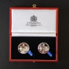 THE GEORGE CROSS & GEORGE MEDAL 75TH., ANNIVERSARY SILVER-PLATED  MEDALLIONS